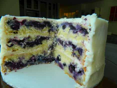 triple lemon blueberry cake